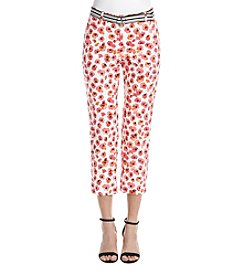 Rafaella Poppy Pattern Cropped Straight Leg Pants