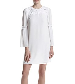 MICHAEL Michael Kors Floral Inset Detail Bell Sleeve Shift Dress