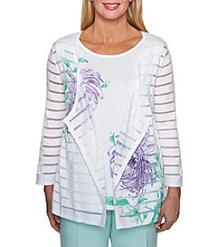 Alfred Dunner Layered Design Floral And Stud Detail Top