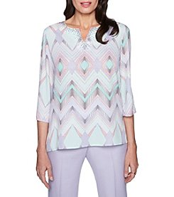 Alfred Dunner Geometric Pattern Stud Detail Top