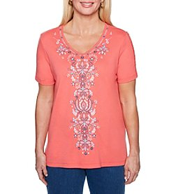 Alfred Dunner Embroidery Detail V-Neck Top