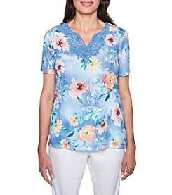 Alfred Dunner Floral Pattern Lace Neckline Top
