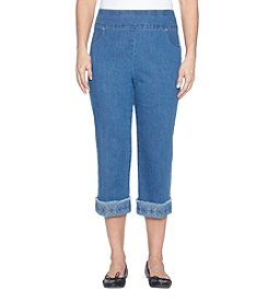 Alfred Dunner Frayed Hem Cuff Stretch Cropped Jeans