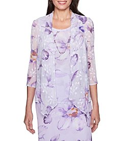 Alfred Dunner Necklace Detail Floral Pattern Layered Design Top
