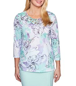 Alfred Dunner Etched Floral Top
