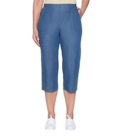Alfred Dunner Denim Cropped Stretch Pants