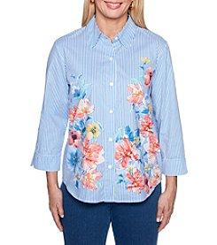 Alfred Dunner Stripe Floral Top