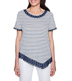 Alfred Dunner Sun City Lace Trim Top