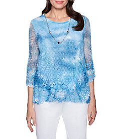 Alfred Dunner Crocheted Design Necklace Detail Top