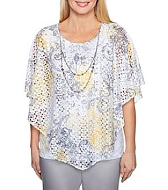 Alfred Dunner Crocheted Design Paisley Pattern Poncho Top