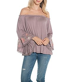 Skylar & Jade by Taylor & Sage Smocked Embroidered Sleeve Top