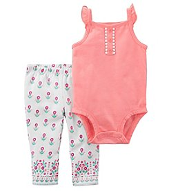 Carter's Baby Girls' 0M-24M 2 Piece Sleeveless Flutter Bodysuit And Floral Leggings Set