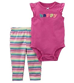Carter's Baby Girls' 0M-24M Happy Bodysuit And Striped Pants Set