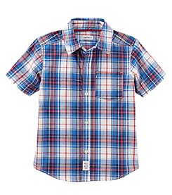 Carter's Boys' 2T-8 Short Sleeve Plaid Woven Shirt