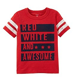 Carter's Boys' 2T-8 Short Sleeve Red White And Awesome Tee