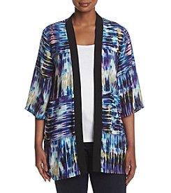 Studio Works Plus Size Abstract Tie Dye Pattern Kimono