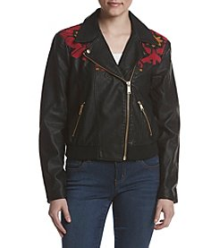 Free People Embroidered Vegan Bomber Jacket