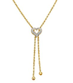 10K Yellow Gold Diamond Heart Lariat Necklace
