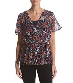 AGB Floral Pattern Cinched Waist V-Neck Top