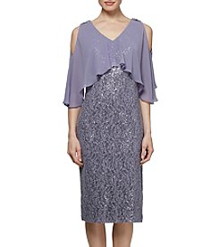 S.L. Fashions Floral Lace Sequin Detail Sheer Popover Dress