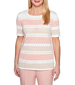 Alfred Dunner Petites' Striped Lace Sweater