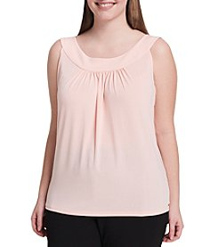 Calvin Klein Plus Size Pleated Scoop Neck Top