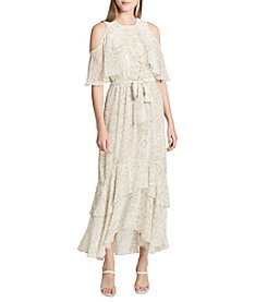 Calvin Klein Abstract Pattern Cold Shoulder Cutouts Ruffle Detail Tiered Dress