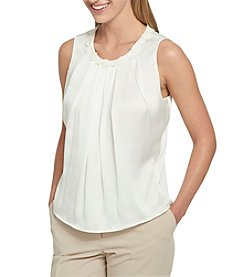 Tommy Hilfiger Lace Detail Neckline Paneled Front Top