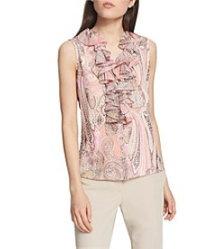 Tommy Hilfiger Paisley Pattern Ruffle Detail Neckline Top