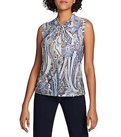 Tommy Hilfiger Paisley Pattern Twist Front Keyhole Top
