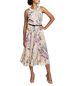 Tommy Hilfiger Floral Pattern Fit And Flare Attached Belt Midi Dress