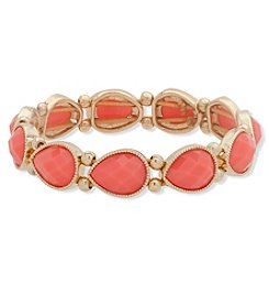 Nine West Goldtone Pink Stone Stretch Bracelet