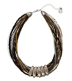 Erica Lyons Silvertone On The Rocks Seed Bead Collar Necklace