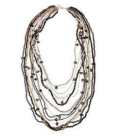 Erica Lyons On The Rocks Multi Row Long Beaded  Necklace
