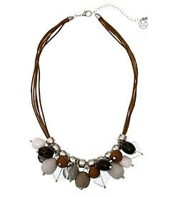 Erica Lyons Silvertone On The Rocks Shaky Bead Necklace
