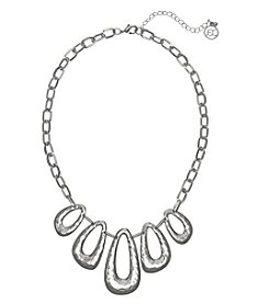 Erica Lyons Silvertone Oval Front Necklace