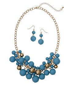 Erica Lyons Goldtone Shaky Beaded Necklace And Drop Earrings Set