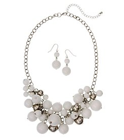 Erica Lyons Silvertone Shaky Beaded Necklace And Drop Earrings Set