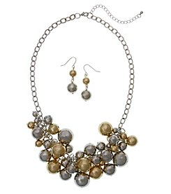 Erica Lyons Multitone Shaky Beaded Necklace And Drop Earrings Set