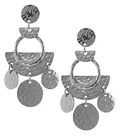Erica Lyons Silvertone Statement Hammered Drop Earrings