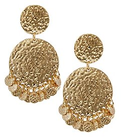 Erica Lyons Goldtone Statement Hammered Disc Drop Earrings