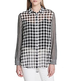 Calvin Klein Button Front Gingham Tunic