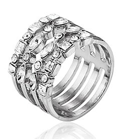 GUESS Silvertone Crystal Ring
