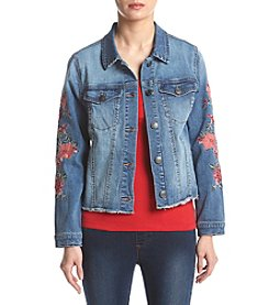 Ruff Hewn Petites' Floral Embroidery Detail Denim Jacket