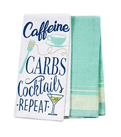 Chef's Quarters Caffeine Carbs 2 Pack Kitchen Towels