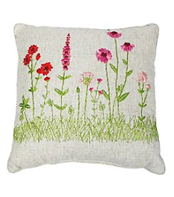 Living Quarters Floral Ribbon Decorative Pillow