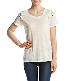 Jessica Simpson Grommet Lace-Up Shoulder Top