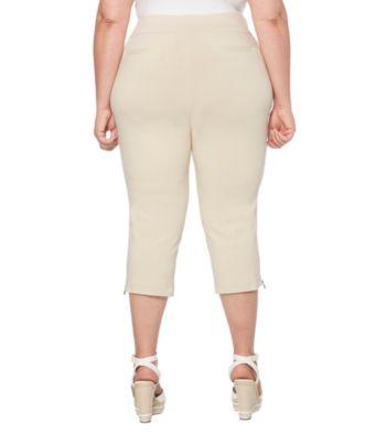 fa5d1e8f90c6d Rafaella Plus Size Skinny Leg Cropped Zip Cuff Leggings