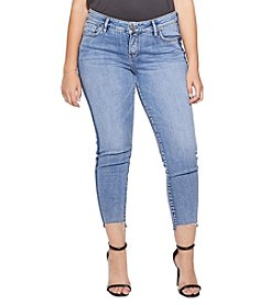 Silver Jeans Co. Plus Size Skinny Cropped Frayed Step Hem Cuff Jeans