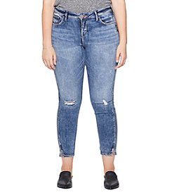 Silver Jeans Co. Plus Size Avery Skinny Cropped Distressed Detail Jeans